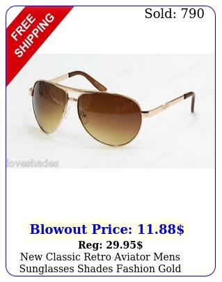classic retro aviator mens sunglasses shades fashion gold brown meta