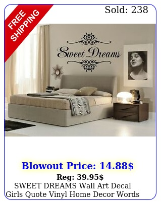 sweet dreams wall art decal girls quote vinyl home decor words lettering