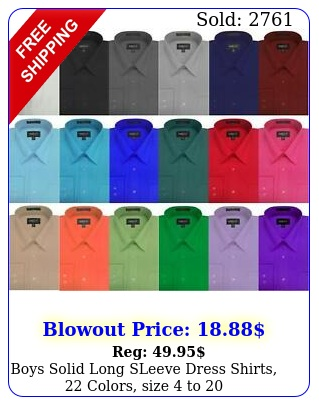 boys solid long sleeve dress shirts colors size t
