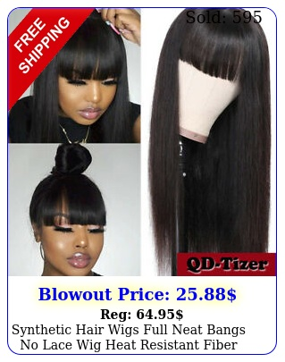 synthetic hair wigs full neat bangs no lace wig heat resistant fiber long blac