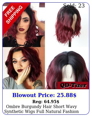 ombre burgundy hair short wavy synthetic wigs full natural fashion women cospla