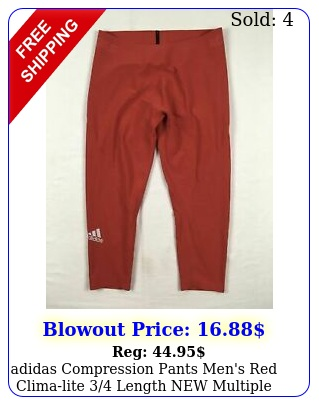 adidas compression pants men's red climalite length multiple size