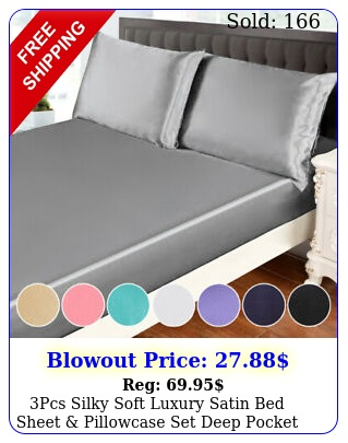 pcs silky soft luxury satin bed sheet pillowcase set deep pocket fitted shee