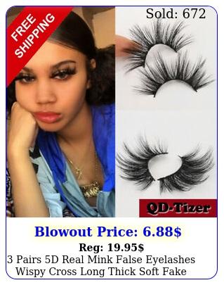pairs d real mink false eyelashes wispy cross long thick soft fake eye lashe