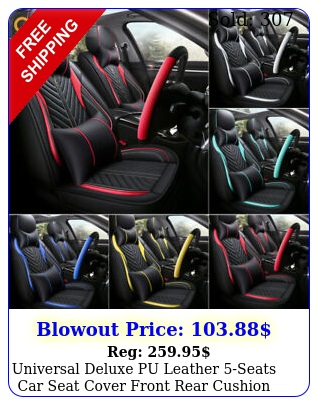 universal deluxe pu leather seats car seat cover front rear cushion full se