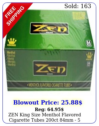 zen king size menthol flavored cigarette tubes ct mm  boxe