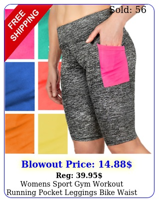womens sport gym workout running pocket leggings bike waist shorts wome
