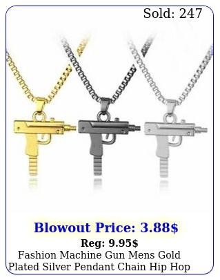 fashion machine gun mens gold plated silver pendant chain hip hop punk necklac