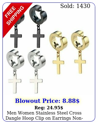 men women stainless steel cross dangle hoop clip on earrings nonpiercin