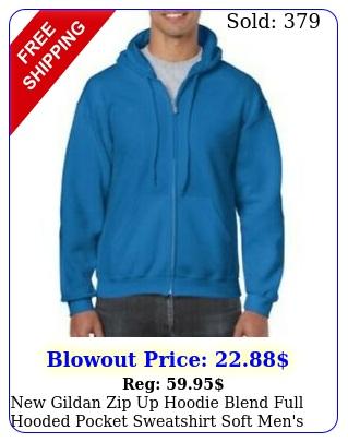 gildan zip up hoodie blend full hooded pocket sweatshirt soft men'