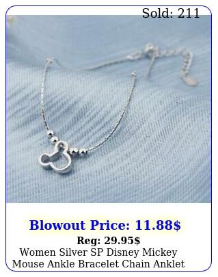 women silver sp disney mickey mouse ankle bracelet chain anklet