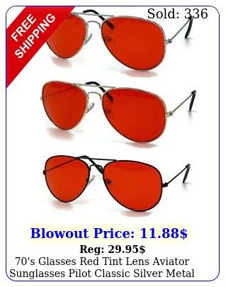 's glasses red tint lens aviator sunglasses pilot classic silver metal fram