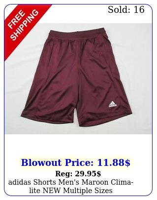 adidas shorts men's maroon climalite multiple size