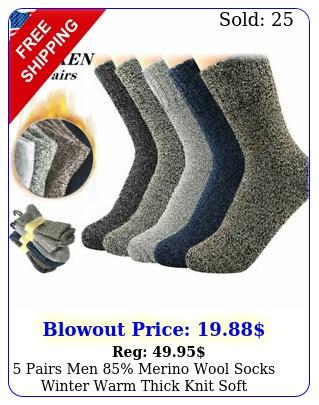 pairs men merino wool socks winter warm thick knit soft thermal crew sock