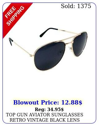 top gun aviator sunglasses retro vintage black lens police pilot metal gold co