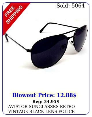 aviator sunglasses retro vintage black lens police pilot metal frame blac