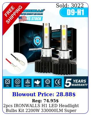 pcs ironwalls h led headlight bulbs kit w lm super bright hilo bea