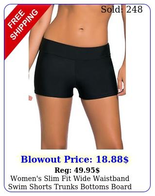 women's slim fit wide waistband swim shorts trunks bottoms board beach swimwea