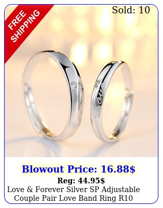 love forever silver sp adjustable couple pair love band ring