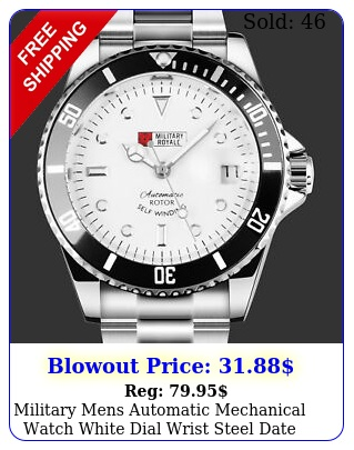 military mens automatic mechanical watch white dial wrist steel date analog arm