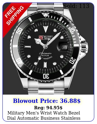 military men's wrist watch bezel dial automatic business stainless steel ban