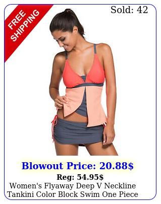 women's flyaway deep v neckline tankini color block swim one piece tank to