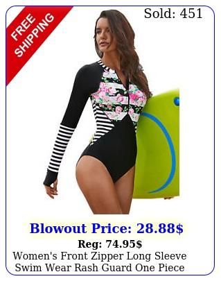 women's front zipper long sleeve swim wear rash guard one piece scuba swimsui