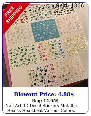 nail art d decal stickers metallic hearts heartbeat various colors your choic