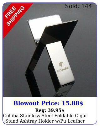 cohiba stainless steel foldable cigar stand ashtray holder wpu leather pouc