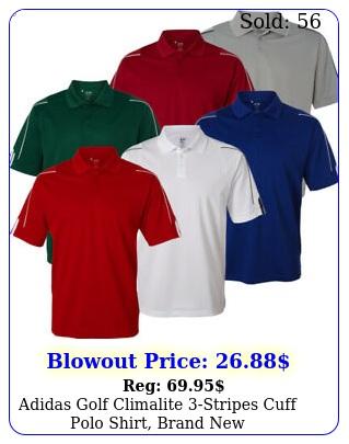 adidas golf climalite stripes cuff polo shirt bran