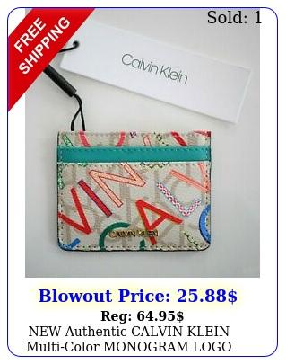 authentic calvin klein multicolor monogram logo credit card case holde