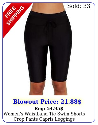 women's waistband tie swim shorts crop pants capris leggings swimwear bottom