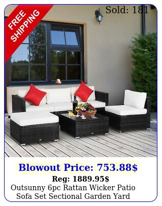 outsunny pc rattan wicker patio sofa set sectional garden yard couch furnitur