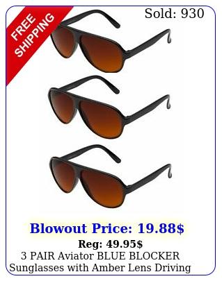 pair aviator blue blocker sunglasses with amber lens driving sunglasses pic