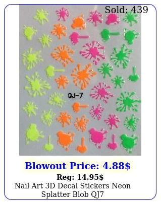 nail art d decal stickers neon splatter blob q