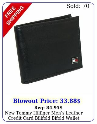 tommy hilfiger mens leather credit card billfold bifold wallet blac