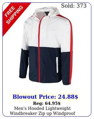 men's hooded lightweight windbreaker zip up windproof outdoor jacket s m l x