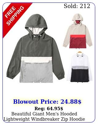 beautiful giant men's hooded lightweight windbreaker zip hoodie pullover jacke