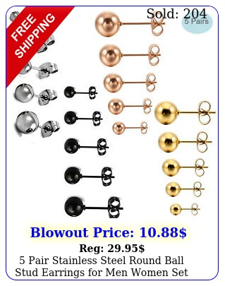 pair stainless steel round ball stud earrings men women set assorted size