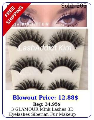 glamour mink lashes d eyelashes siberian fur makeup extension us selle