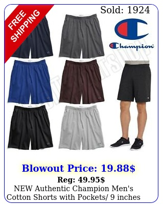 authentic champion men's cotton shorts with pockets inches insea