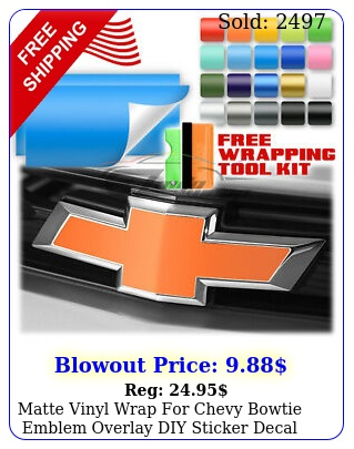 matte vinyl wrap chevy bowtie emblem overlay diy sticker decal sheet fil