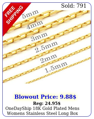 onedayship k gold plated mens womens stainless steel long chains necklace