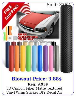d carbon fiber matte textured vinyl wrap sticker diy decal air bubble fre