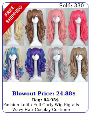 fashion lolita full curly wig pigtails wavy hair cosplay costume halloween part