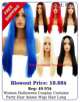 women halloween cosplay costume party hair anime wigs hair long wig straigh