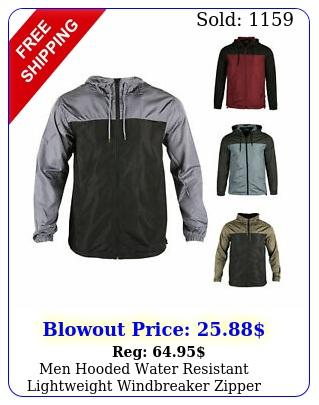 men hooded water resistant lightweight windbreaker zipper outdoor sports jacke