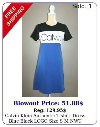 calvin klein authentic tshirt dress blue black logo size s m nwt cotto