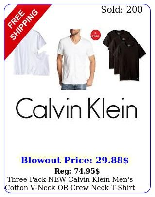 three pack calvin klein men's cotton vneck or crew neck tshirt classic fi