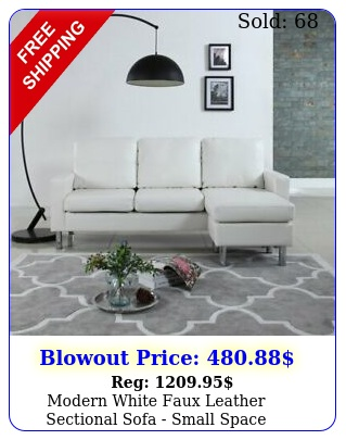 modern white faux leather sectional sofa small space configurable couc